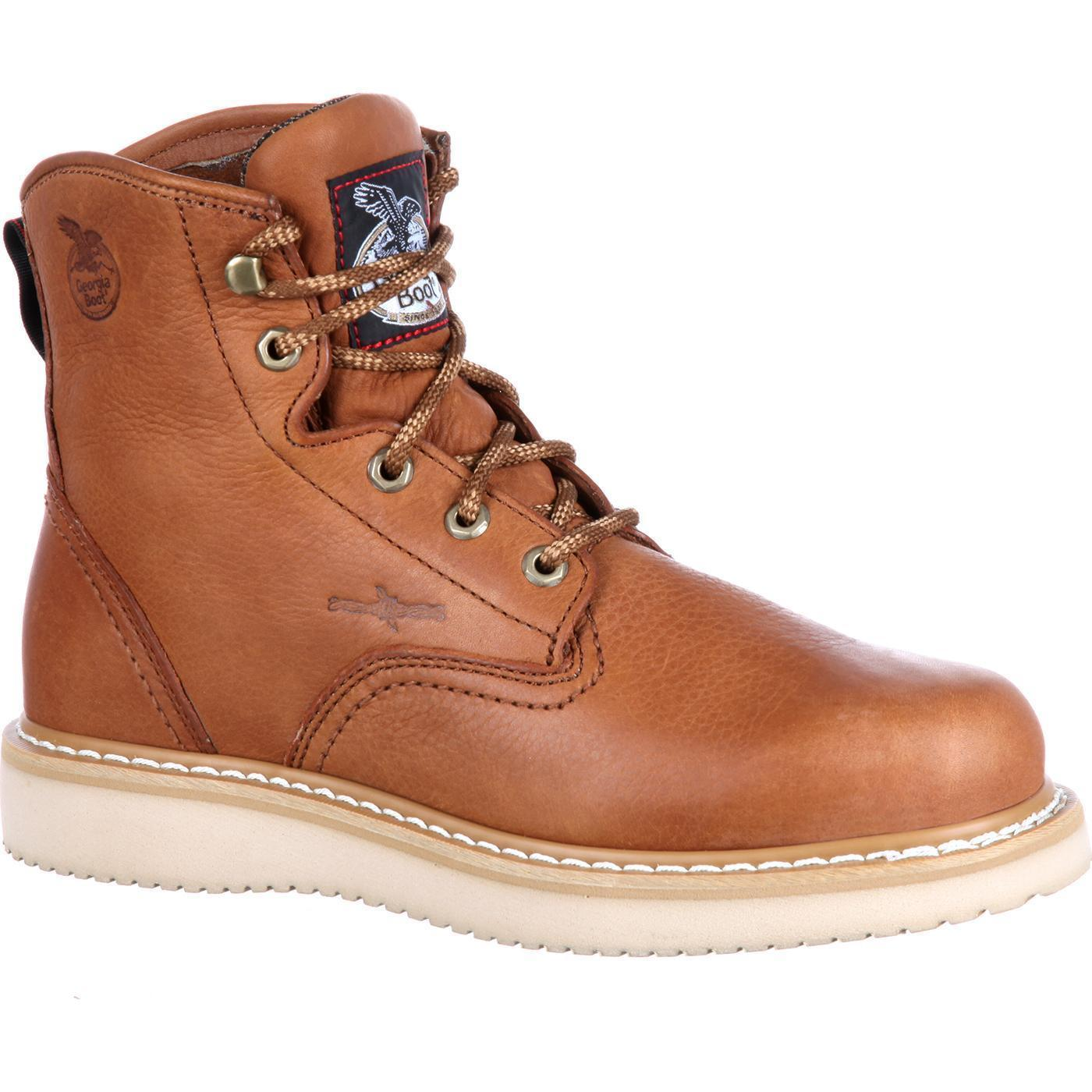 """Georgia G6152 6/"""" Lace Up Wedge Sole Farm /& Ranch Chemical Resistant Work Boots"""