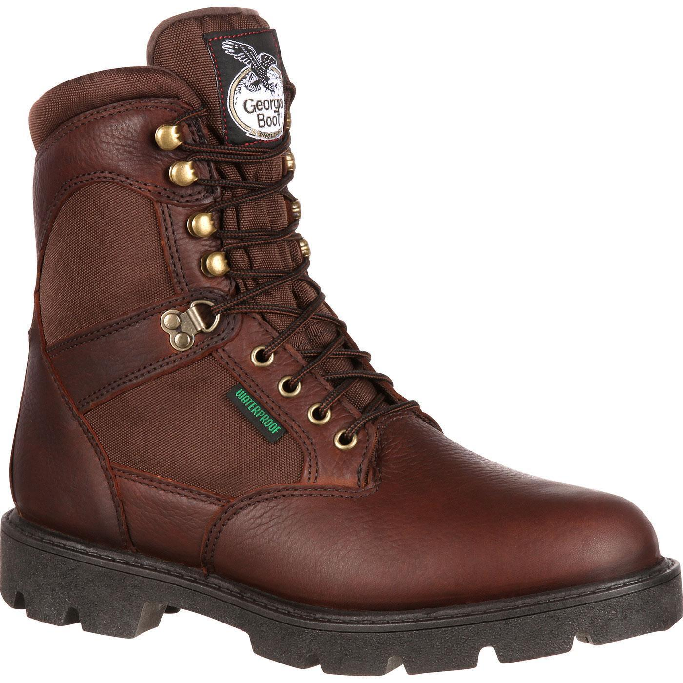 """ALL SIZES NEW GEORGIA HOMELAND WATERPROOF 600G INSULATED 8/"""" WORK BOOTS G109"""
